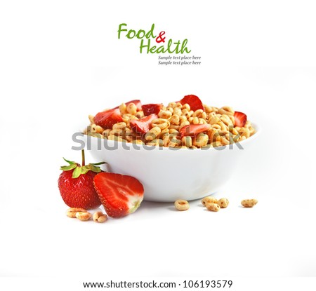 Fresh corn flakes with strawberries close up isolated on white - stock photo