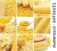 Fresh corn, preserved corn and popcorn collage - stock photo