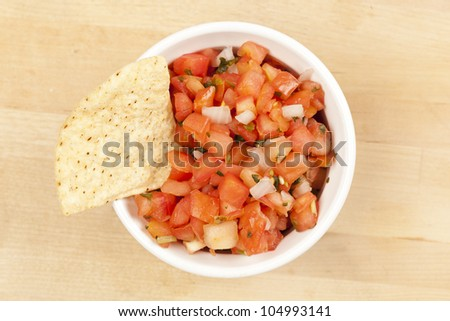 Fresh Corn Tortilla Chips and Salsa background - stock photo
