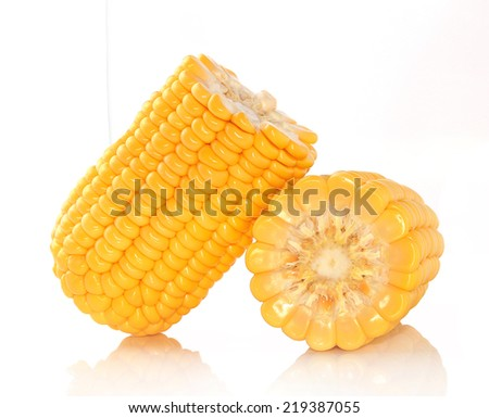 Fresh corns on white background - stock photo