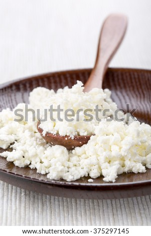 Fresh cottage cheese. Selective focus. - stock photo