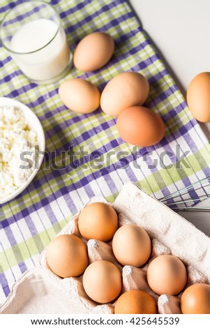 Fresh cottage cheese with eggs from the farm and free range chickens.
