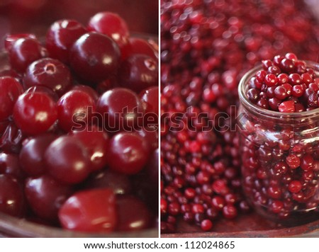 Fresh cowberry in the glass. collage - stock photo