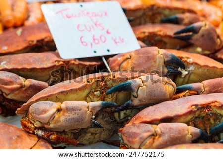 Fresh Crab at a Seafood market in St malo France - stock photo