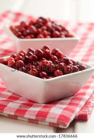 Fresh cranberries in white bowl, selective focus