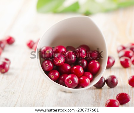 Fresh cranberries in  white bowl. Selective focus - stock photo