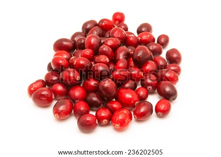 Fresh Cranberries isolated on a white studio background. - stock photo