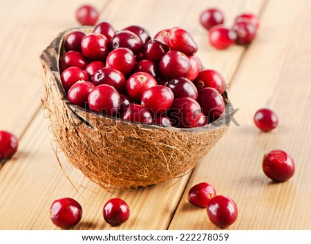 Fresh Cranberries  on wooden background. Selective focus - stock photo