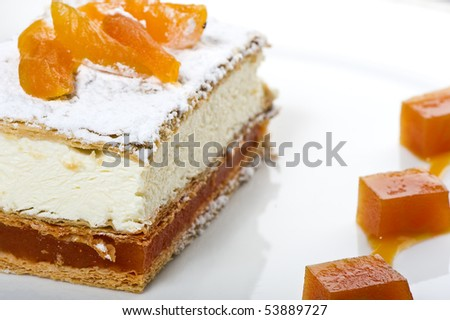 Fresh cream cake with apricots