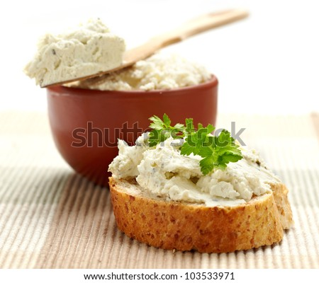 fresh cream cheese - stock photo