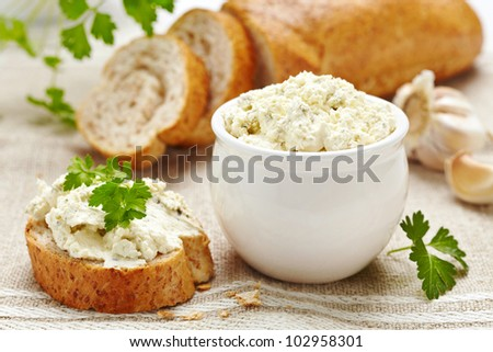 fresh cream cheese and bread - stock photo
