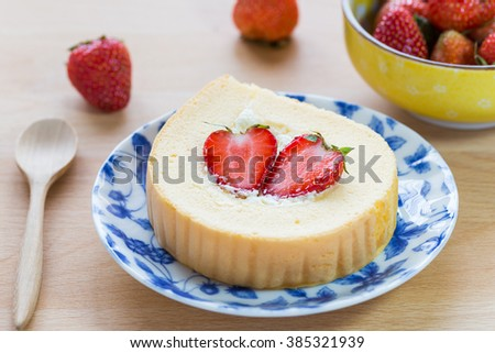 Fresh cream roll with strawberry
