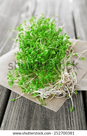 Fresh cress salad on wooden planks background - stock photo