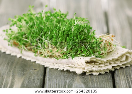 Fresh cress salad on wooden planks background - stock photo