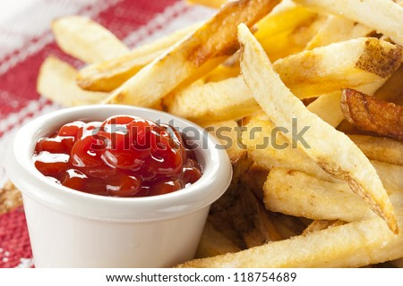 Fresh Crispy French Fries with some ketchup