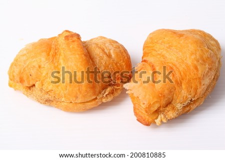 Fresh croissant bread isolated on white background