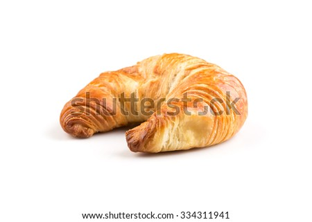 Fresh croissant isolated on the white background