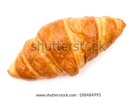 Fresh Croissant Isolated On White - stock photo