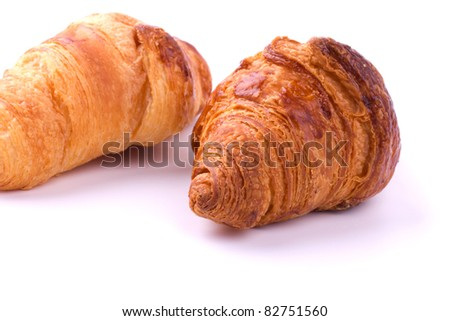 Fresh croissants isolated on the white background