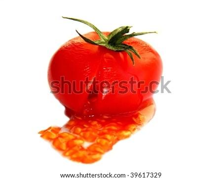 Fresh crushed tomato isolated on white background - stock photo