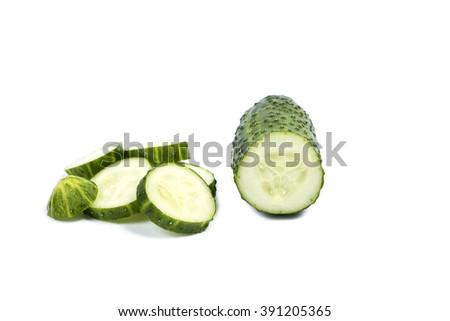 Fresh cucumber, a sliced cucumber - stock photo