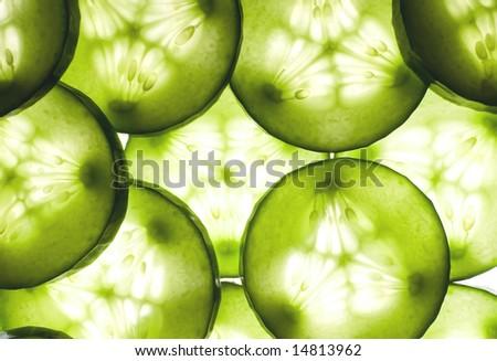 Fresh cucumber background - stock photo