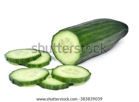 Fresh cucumber, chopped cucumber, isolated on white. - stock photo