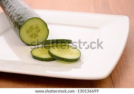 Fresh cucumber on a plate