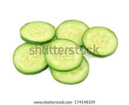 Fresh cucumber slices isolated on white background - stock photo