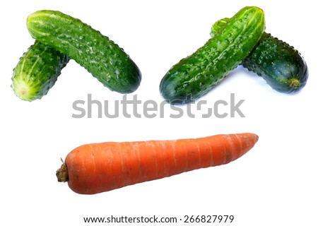Fresh cucumbers in studio on a white background - stock photo