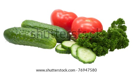 fresh cucumbers tomatoes and parsley isolated on white background