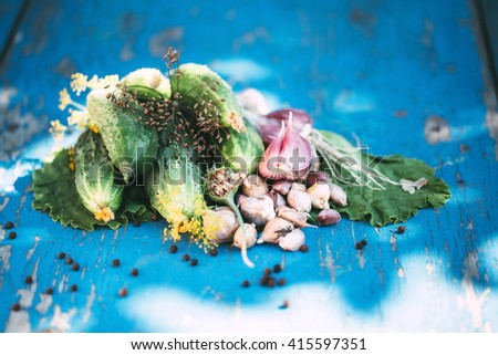 Fresh cucumbers with garlic on a wooden background.