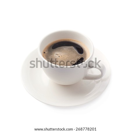 Fresh cup of black coffee on a white ceramic plate, composition isolated over the white background - stock photo