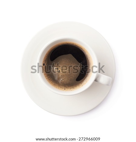 Fresh cup of black coffee on a white ceramic plate, composition isolated over the white background, top view above foreshortening - stock photo