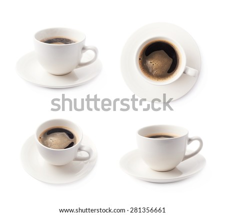 Fresh cup of black coffee on a white ceramic plate, composition isolated over the white background, set of four different foreshortenings - stock photo