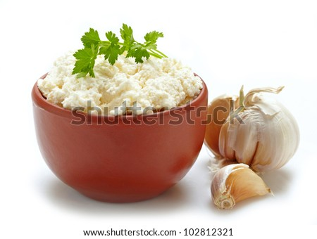 fresh curd cheese - stock photo