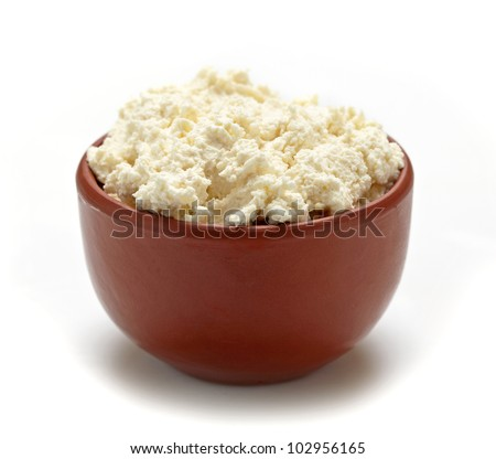 fresh curd cheese - stock photo