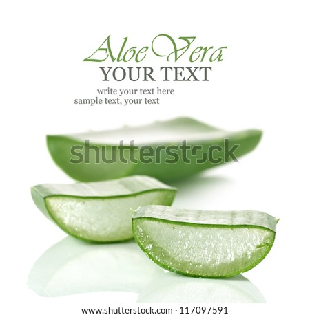 Fresh cut Aloe Vera slices - stock photo