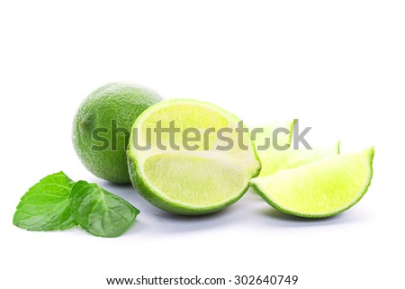 Fresh cut lime - stock photo