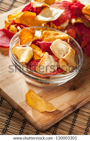 Fresh Cut Organic Vegetable Chips with sea salt - stock photo