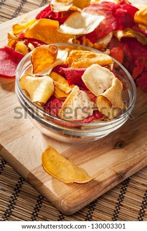 Fresh Cut Organic Vegetable Chips with sea salt - stock photo