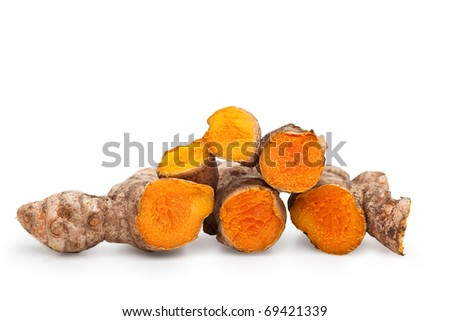 Fresh Cut Turmeric or Curcuma Longa Isolated with clipping path - stock photo