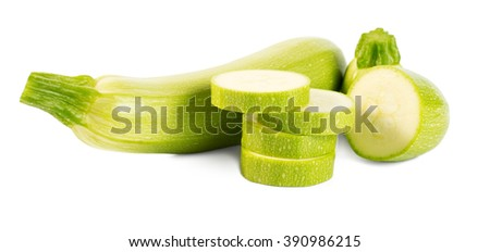 Fresh cut vegetable marrows (zucchinis) isolated on white background - stock photo