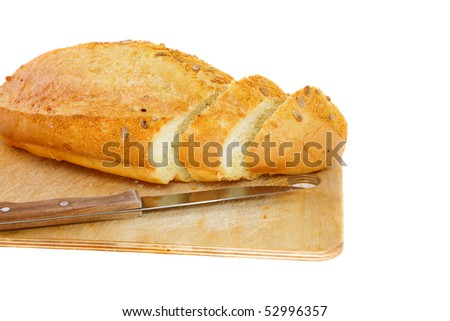 Fresh cutting bread. Isolated over white - stock photo