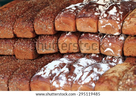 fresh czech bread as natural food background - stock photo