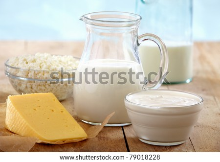fresh dairy products - stock photo