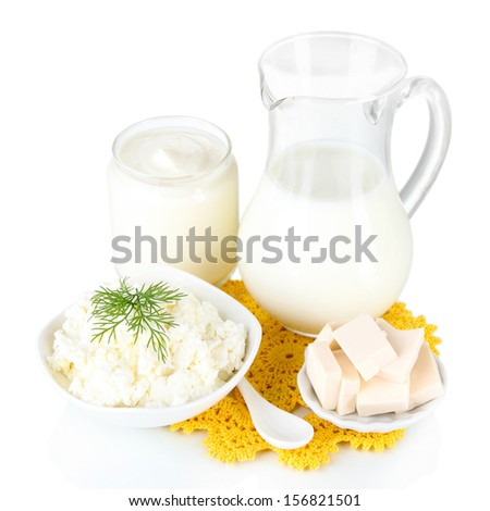 Fresh dairy products isolated on white - stock photo