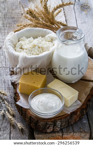 Fresh dairy products (milk, cottage cheese, cheese, sour cream, butter), wheat, rustic wood background - stock photo