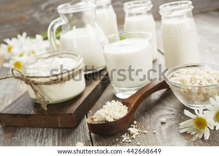 Fresh dairy products on a wooden table