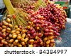Fresh date fruits hang on stalks at a market in the West Bank Palestinian city of Jericho. - stock photo